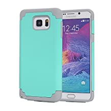 Galaxy Note 5 Case, Pandawell™ Slim Thin Dual Layer Hybrid Shockproof Silicone Case Cover for Samsung Galaxy Note 5 with Screen Protector (Mint Green/Grey)