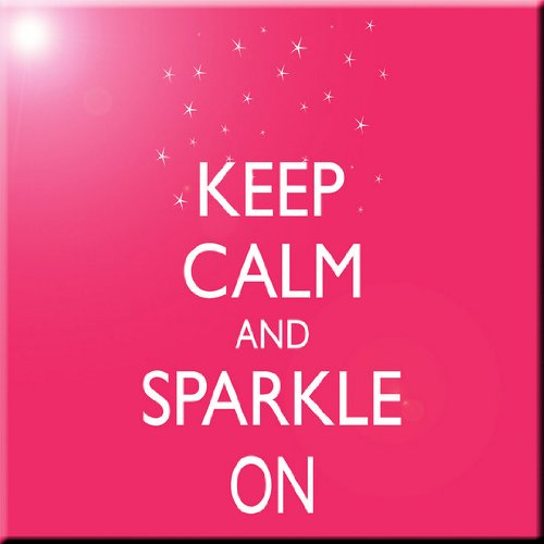 Rikki Knight Keep Calm and Sparkle On Tropical Pink Color Design Ceramic Art Tile 12 x 12