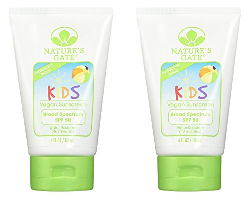 Nature's Gate SPF 50 Kids Broad Spectrum Sunscreen (Pack of 2) with Aloe Vera Leaf Juice, Calendual Flower Extract, Matricaria Flower Extract and Rosemary Leaf Extract, 4 fl. oz.
