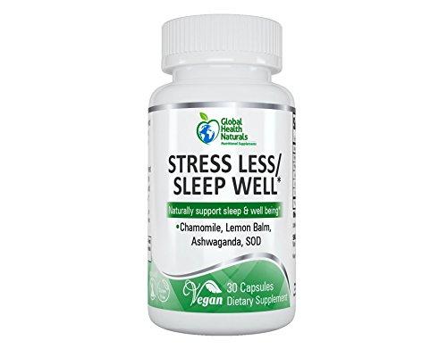 Global Health Naturals- Stress Less Sleep Well Supplement, 30 Veg Capsules