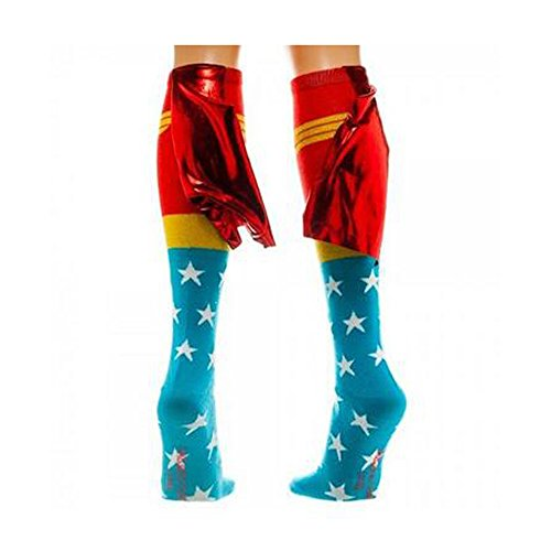Yunko Wonder Woman Stockings Superhero Knee High Shiny Red socks With Caped
