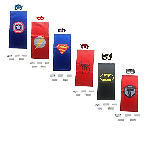 Ranavy Superhero Capes And Masks Bulk Set Dress Up for Kids - Children DIY Birthday Party Costumes (6 PCS(13