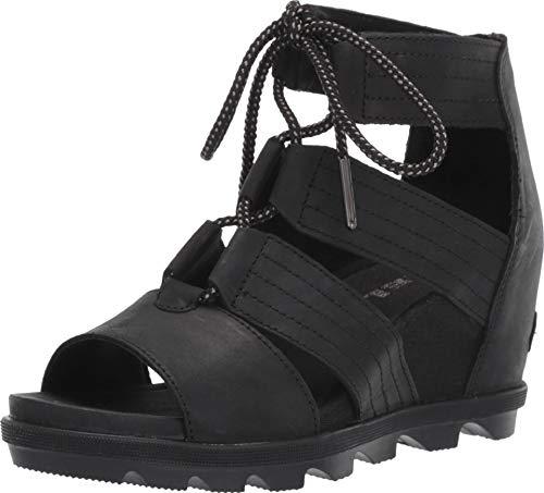 Sorel Women's Joanie II Lace Wedge Sandals (7.5 M US, Black) - Metalic Strap High Heel