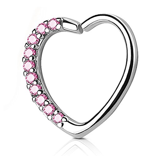 Heart with CZ Gems Cartilage Tragus Daith Piercing Earring (Right Ear) - 16G 3/8