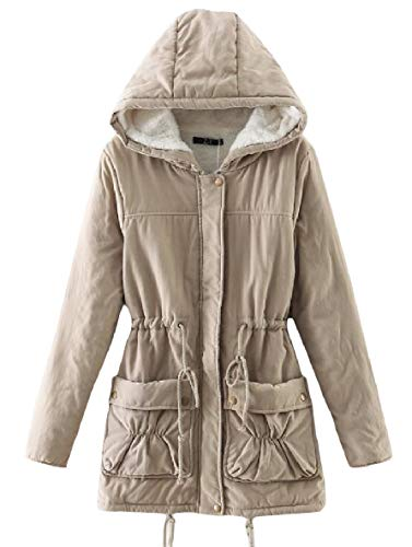 Lungo Cappotto Outwear Elastico Cappuccio Di Xinheo Cachi Tasca Womens Caldo Velluto Spessore Medio ZIABwgv