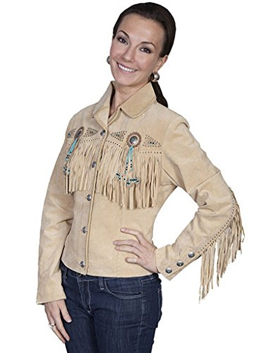 Scully Women's Fringe and Beaded Boar Suede Leather Jacket Chamois ()