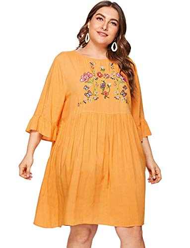 Romwe Plus Size Boho Embroidered Floral Ruffle Sleeve Summer Loose Tunic Swing Dress Yellow 3XL ()