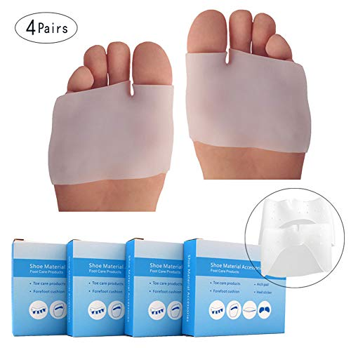 FAYBA Metatarsal Pads, Breathable Toe Separator Forefoot Soft Gel Cushioning Foot Cushions, Foot Pain Relief Prevent Calluses Blisters for Men and Women (White, Half Foot Style)