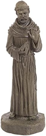 Solid Rock Stoneworks St Francis on Rock Base Stone Statue 25in Tall Sculpture Slate Color
