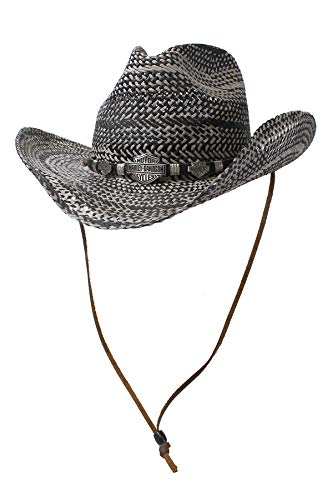 Harley-Davidson Mens Twisted Toyo Fancy Band Metal B&S Black Straw Hat (X-Large) ()