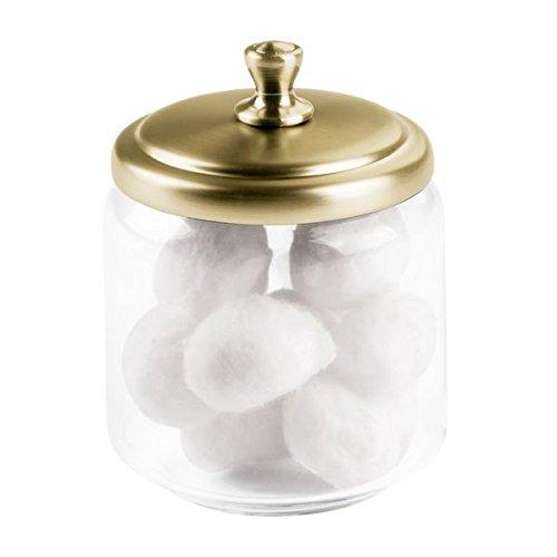 Clair//Soft Brass Glass pour Boules de Coton 8,89 x 0,25 x 11,43 cm disques /à d/émaquiller-Transparent//Laiton Souple iDesign 67778EU Bocal en Verre York Bathroom Vanity