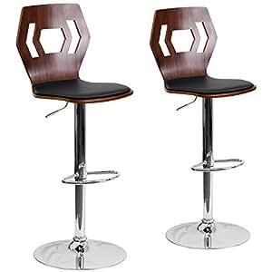 Amazon Com Flash Furniture 2 Pk Walnut Bentwood
