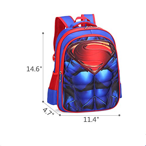 Superman Backpack Superhero School Bag for kids Age 5 to 12 Years Old (Small)