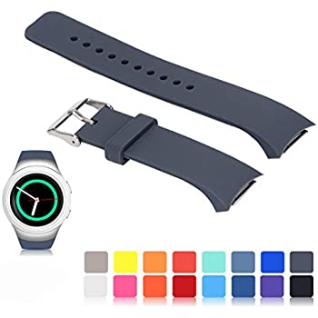 Feskio for Samsung Gear S2 SM-R720/R730 Watch Replacement Band Accessory Small/Large Size Soft Silicone Wristband Strap Smartwatch Sport Band Fit for ...