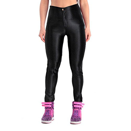Yomsong Women's High Waist Shiny Satin Neon Disco Pants (X-Small, Black) ()