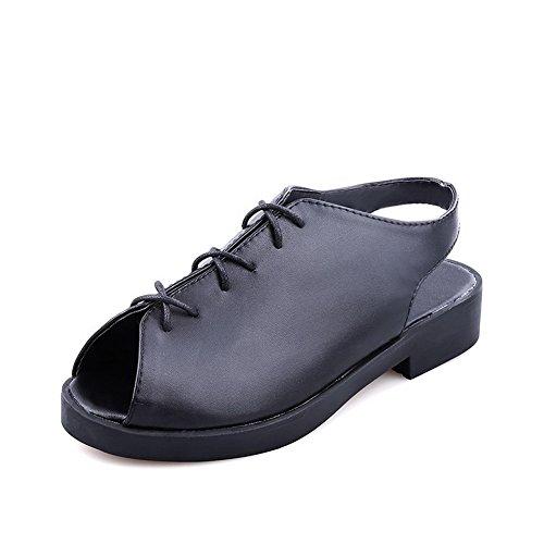 AllhqFashion Mujeres Sólido Cordones Puntera Abierta Sandalias de vestir con Lazos Negro
