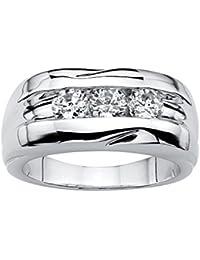 Men's Round White Cubic Zirconia Platinum-Plated Channnel-Set Ring