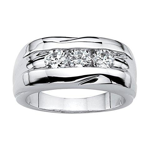 Lux Men's Round White Cubic Zirconia Platinum-Plated Channnel-Set Ring -