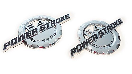 2 NEW CHROME FORD CUSTOM 6.4L F250 F350 POWERSTROKE DOOR BADGES EMBLEMS SET PAIR (Custom Truck Emblems)