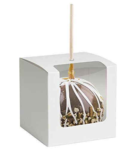 Candy or Caramel Apple Box – Bold White Design, 18pt Board, 4x4x4, Slit on Top of Box for Stick, Clear Front Window Wrapping to Top, 100 Containers, Ships Flat, Fits -