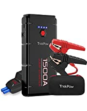 Car Jump Starter, Trekpow G22 1500A Peak 12V Auto Battery Booster (Engines up to 8.0L Gas/6.5L Diesel) Upgraded Jump Pack with UltraSafe Smart Clamps, QC3.0, Type-C Input&Output, LED Flashlight