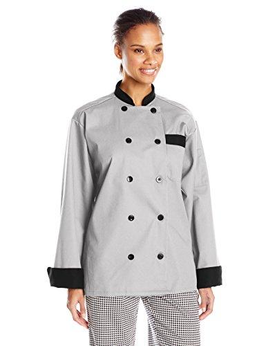 Shirt Chef Trim (Uncommon Threads Unisex Unisex Newport Chef Coat, Stone/Black Trim, Large)