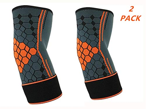 (2 Packs) Adjustable Compression Elbow Support Elbow Brace Sleeves with Strap for Running,Fitness, Basketball,Volleyball,Table Tennis, Relieve Muscle Damage, Tendonitis, Arthritis (Orange, M)