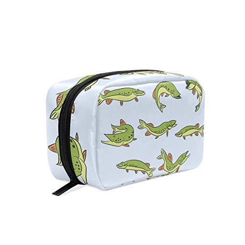 (Cartoon Pike Makeup Bag Organizer Portable Cosmetic Pouch Handbag With Zipper For Women Purse)