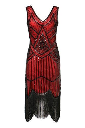 Zhisheng You 1920s Gastby V-Neck Sequined Embellished Fringed Vintage Hem Flapper Dress (XXL, -