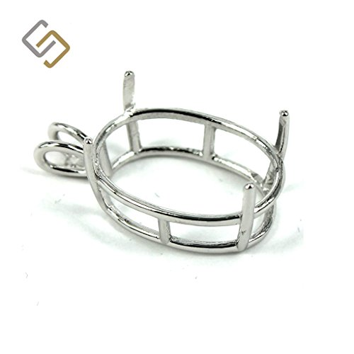 Oval Shape Basket Pendant Setting with 4-Prong Mounting in Sterling Silver for 18x24mm Stones