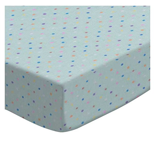 SheetWorld Fitted Cradle Sheet - Pastel Colorful Pindots Blue Woven - Made In USA
