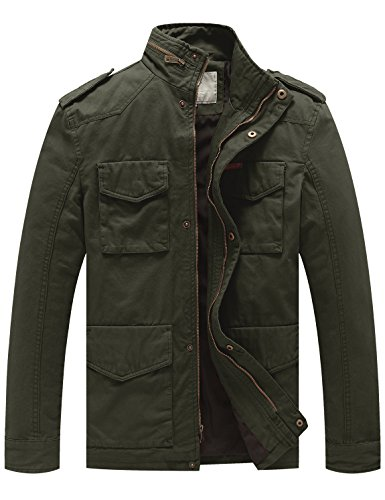 WenVen Men's Stand Collar Cotton Field Jacket (Army Green, - Field Mens Jacket