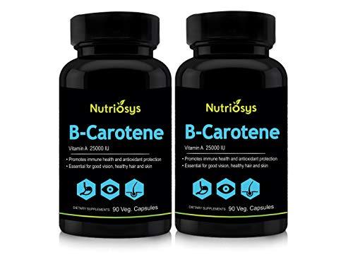 Nutriosys Beta Carotene 25000IU (90 Veg Capsules) Pack of – 2