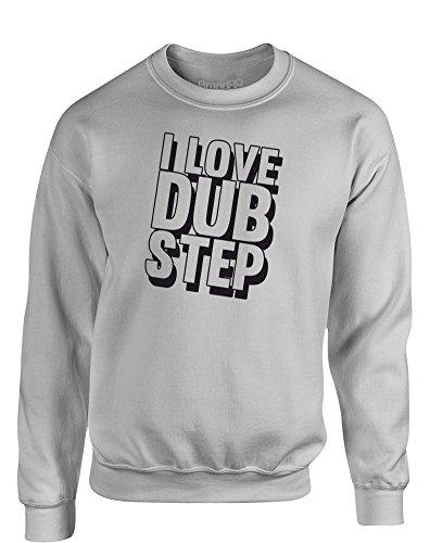 I Love Dub Step, Kids Sweatshirt - Grey/Black 13 Years