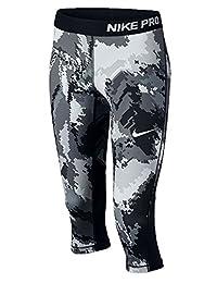 Nike Kids Pro Cool Girls Capri AOP3 Black/White, Small, 845595 010