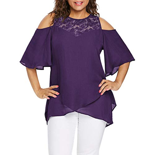 Willow S Plus Size Women O-Neck Cold Shoulder Solid Color Lace Neck Short Sleeve Zipper Tops Blouse Pullover Purple ()