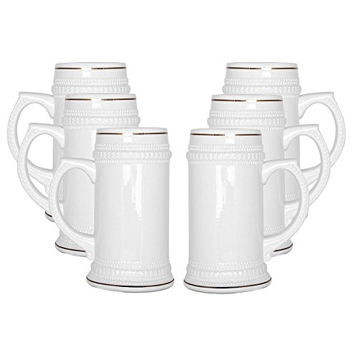 Imperial Home Premium Ceramic Beer Stein Bar Mug With Ornate Gold Trim – 20 Oz Stoneware Oktoberfest Beer Mug Set German Style (6)
