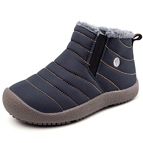 AFT AFFINEST Boys Girls Snow Boots Waterproof Slip On Fur Lined Sneakers Winter Warm Shoes(Blue,37)
