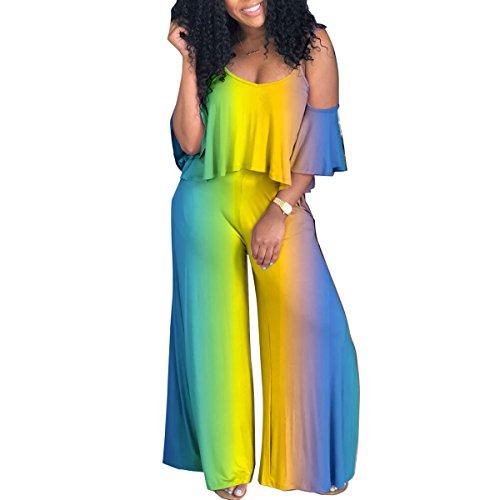 (Women Spaghetti Strap Ruffle Short Sleeve Wide Leg Palazzo Pants Jumpsuit Romper Casual Tie Dye Rainbow XL)