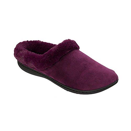 Dearfoams Velours Verstoppen Aubergine Slippers Indoor Outdoor Traagschuim (x Grote 9-10)