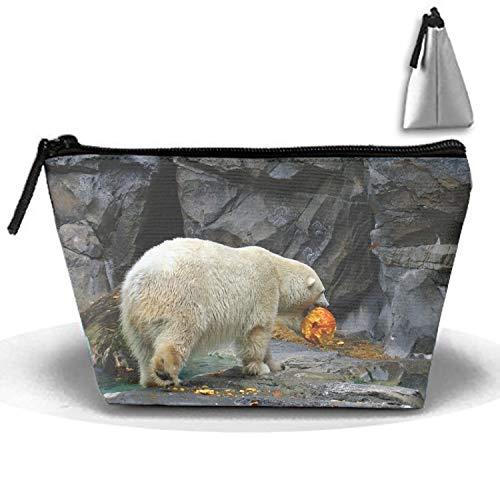 Halloween Polar Bear Makeup Pouch Travel Trapezoidal Clutch Bag with Zipper -