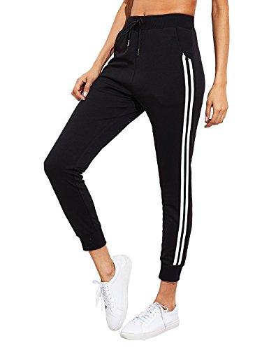SweatyRocks Women's Drawstring Waist Striped Side Jogger Sweatpants with Pockets (Medium, Black_Striped)