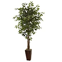Nearly Natural 5931 6-Feet Ficus Tree with Bamboo Planter, Green