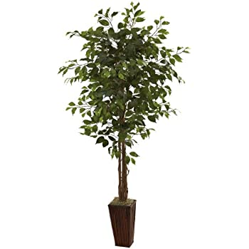 nearly natural 6feet ficus tree with bamboo planter green