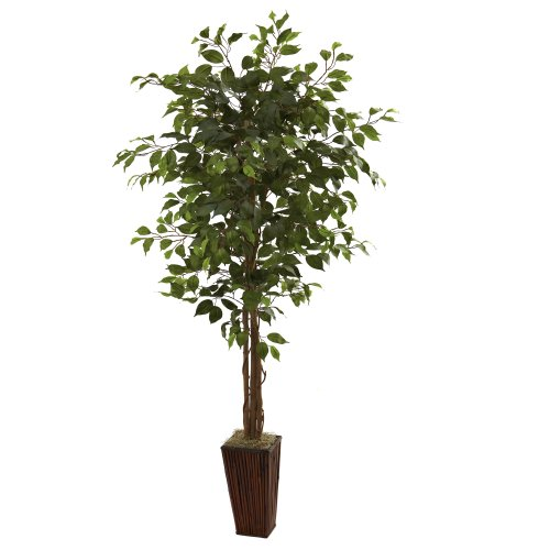 Nearly Natural 5931 6-Feet Ficus Tree with Bamboo Planter, Green by Nearly Natural