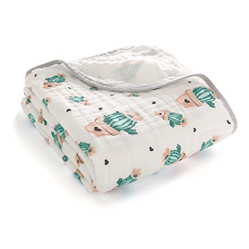 Miracle Baby Muslin Swaddle Blankets Large Cotton Receiving Blanket Nursing Cover 59''x 39'' (2 Layers, Cactus) (Cotton Jersey Receiving Blanket)