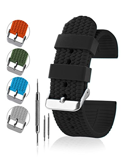 Silicone Rubber Watch Band - 100% Waterproof, Silicone & Rubber Watchband, Includes Spring Bar & Tool Set - Perfect For Active Wear - By United Watchbands