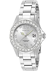 Invicta Womens 15251 Pro Diver Silver Dial Crystal Accented Stainless Steel Watch