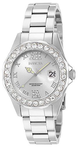 Invicta Women's 15251 Pro Diver Silver Dial Crystal Accented Stainless Steel Watch (Crystal Glass Womens Watch)