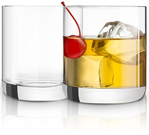 JoyJolt Nova Non-leaded Crystal Old Fashioned Whiskey Glasses, Excellent For Cocktail Bourbon Rocks Tumbler Glass 10 Ounce Bar Glassware Set of 2 by JoyJolt